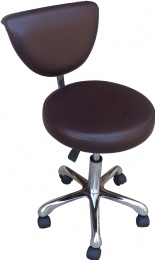 TF53 Back Rest Tattoo Stools Medical Rubber Wheels brown